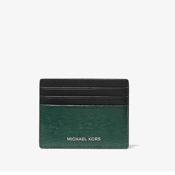 MK TWO-TONE CROSSGRAIN LEATHER TALL CARD CASE